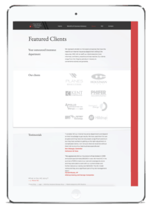 Client Project: Insurance Advocacy Group website in a tablet view.