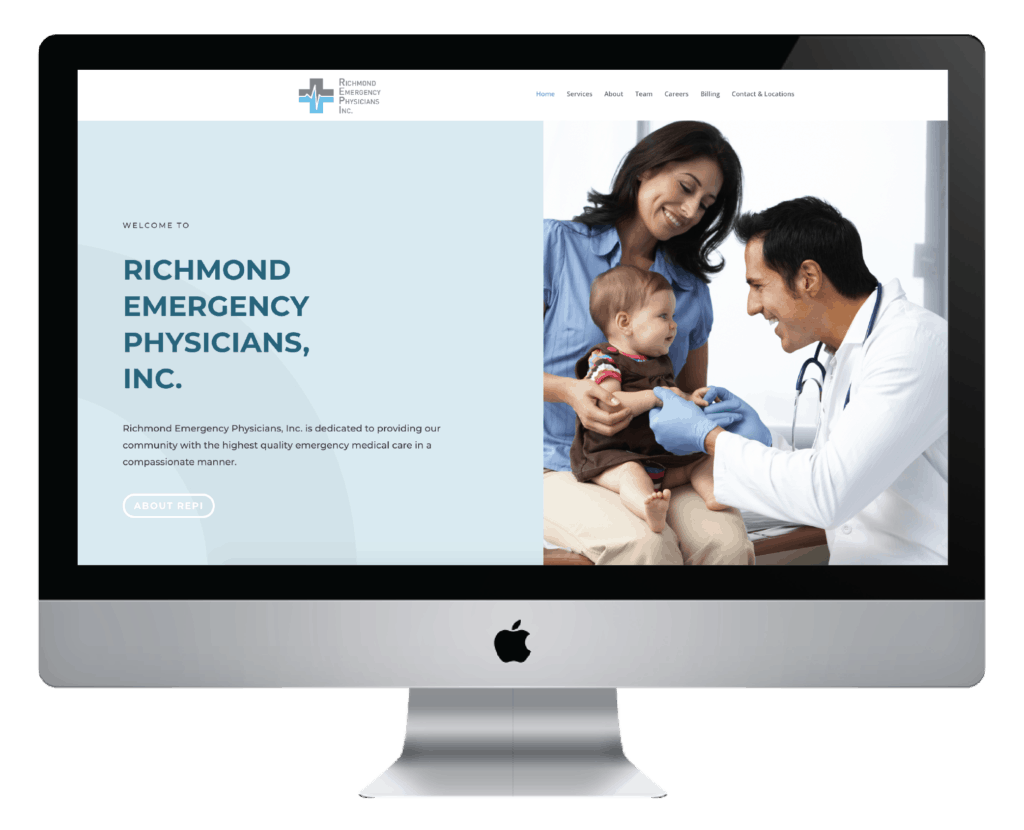 Client Project: Richmond Emergency Physicians Inc website in a desktop view.